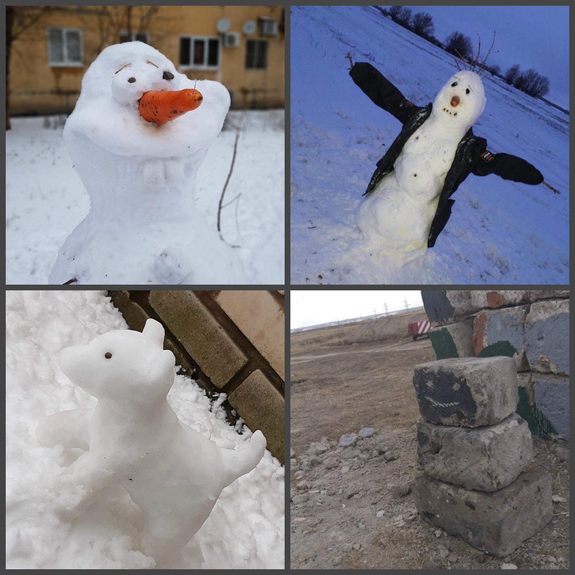 Олаф из «Холодного серда» , снежное пугало и ледяной полицейский: астраханцы слепили свои снежные фигуры