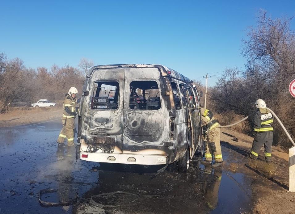 В Камызякском районе сгорела газель